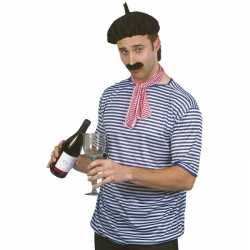 4x stuks fransman verkleed carnavalsoutfit shirt/set kleding volwassenenen