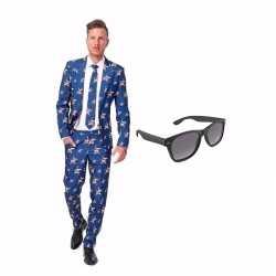 Amerikaanse vlag mannen carnavalsoutfit maat 48 (m) gratis zonnebril