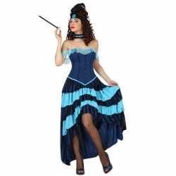 Blauw cabaret danseres carnavalsoutfit