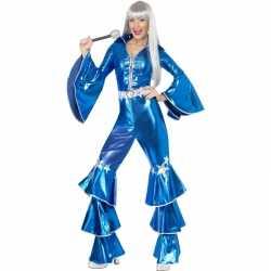 Blauw dancing queen carnavalsoutfit 70s