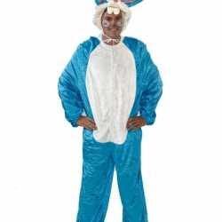 Blauw haas carnavalsoutfit kleding volwassenen