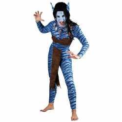 Blauwe jungle strijdster carnavalsoutfit kleding dames