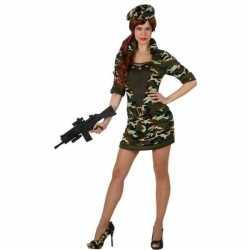Camouflage soldaat verkleed carnavalsoutfit/jurk kleding dames