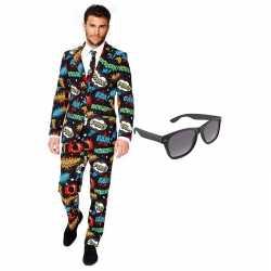 Comic kleding mannen carnavalsoutfit maat 56 (xxxl) gratis zonnebril