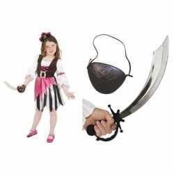 Compleet roze piraten carnavalsoutfit kleding meisjes