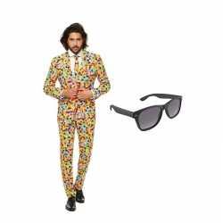 Confetti kleding mannen carnavalsoutfit maat 50 (l) gratis zonnebril