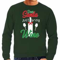 Dear santa just bring wine drank sweater / outfit groen kleding mannen