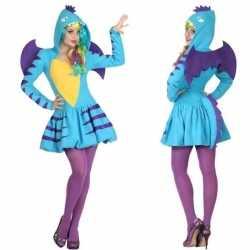Dierenpak blauwe draak verkleed carnavalsoutfit/jurk kleding dames