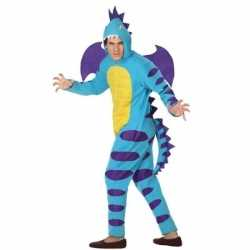 Dierenpak blauwe draak verkleedcarnavalsoutfit kleding volwassenen