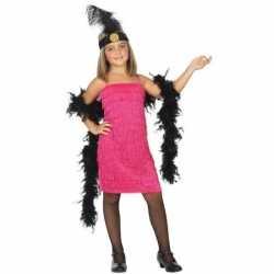 Flapper franje verkleed carnavalsoutfit/jurkje roze kleding meisjes