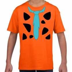 Fred holbewoner carnavalsoutfit t shirt oranje kleding kinderen