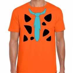 Fred holbewoner carnavalsoutfit t shirt oranje kleding mannen