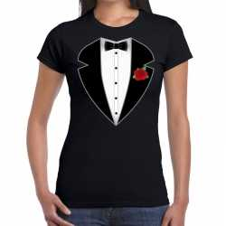 Gangster / maffia pak carnavalsoutfit t shirt zwart kleding dames