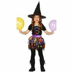 Gekleurd heksen carnavalsoutfit kleding meisjes