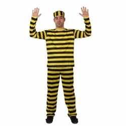 Gestreept boeven pak carnavalsoutfit geel verkleedkleding