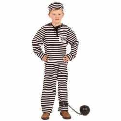 Gestreept gevangene carnavalsoutfit kinderen