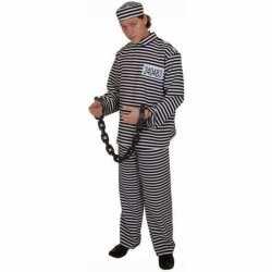 Gestreept gevangene carnavalsoutfit volwassene