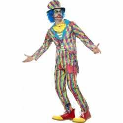 Gestreept horror clowns carnavalsoutfit kleding mannen
