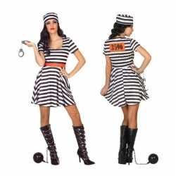 Gevangene/boef bonnie verkleed carnavalsoutfit/jurk kleding dames