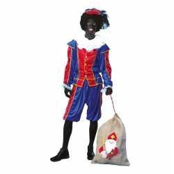 Goedkope roetveeg pieten carnavalsoutfit blauw/rood unisex