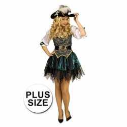 Grote maat groene piraten verkleed carnavalsoutfit/jurk kleding dames