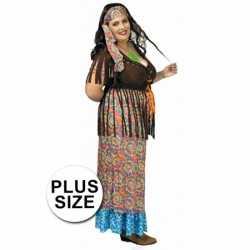 Grote maat hippie verkleed carnavalsoutfit/jurk kleding dames.