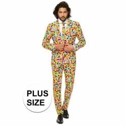 Grote maat mannen carnavalsoutfit confetti kleding