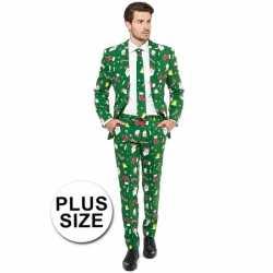 Grote maat mannen carnavalsoutfit groen kleding