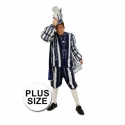 Grote maat prins carnaval carnavalsoutfit blauw wit