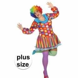Grote maten clown verkleed jurk/carnavalsoutfit kleding dames