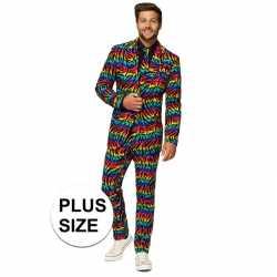 Grote maten mannen verkleed pak/carnavalsoutfit zebra regenboog kledi