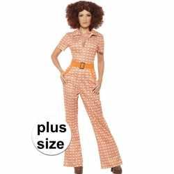 Grote maten oranje jaren 70 carnavalsoutfit kleding dames