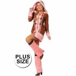 Grote maten roze eskimo carnavalsoutfit kleding dames