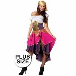 Grote maten roze zigeunerin carnavalsoutfit kleding dames