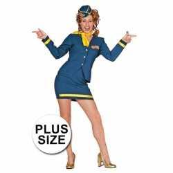 Grote maten stewardess carnavalsoutfit