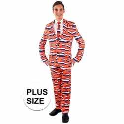 Grote maten verkleedkleding mannen carnavalsoutfit oranje vlag nederl