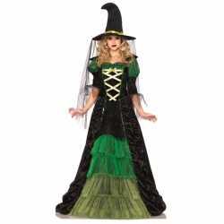 Heksen carnavalsoutfit groen zwart