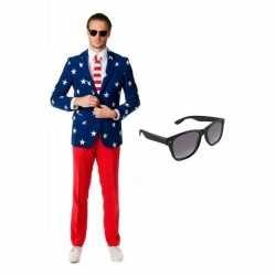 Heren carnavalsoutfit amerikaanse vlag kleding maat 50 (l) gratis