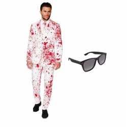 Heren carnavalsoutfit bloed kleding maat 52 (xl) gratis zonnebri