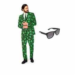 Heren carnavalsoutfit cannabis kleding maat 48 (m) gratis zonnebri