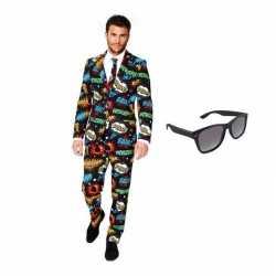 Heren carnavalsoutfit comic kleding maat 50 (l) gratis zonnebri