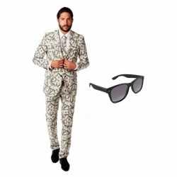 Heren carnavalsoutfit dollar kleding maat 54 (2xl) gratis zonnebri