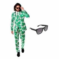 Heren carnavalsoutfit kaarten kleding maat 52 (xl) gratis zonnebri
