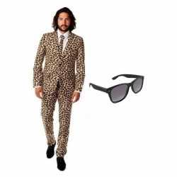 Heren carnavalsoutfit luipaard kleding maat 50 (l) gratis zonnebri