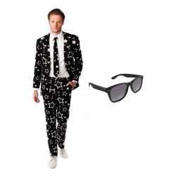 Heren carnavalsoutfit sterren kleding maat 50 (l) gratis zonnebril