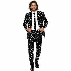 Heren verkleed pak/carnavalsoutfit zwart sterren kleding