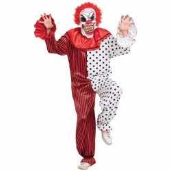 Horror clown carnavalsoutfit masker rood/wit