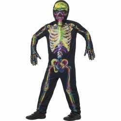 Horror glow in de dark kinderen carnavalsoutfit gekleurde skelet