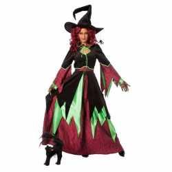 Horror Heksen carnavalsoutfit groen/rood vrouwen