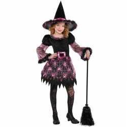 Horror heksen carnavalsoutfit spinnenweb kleding meisjes